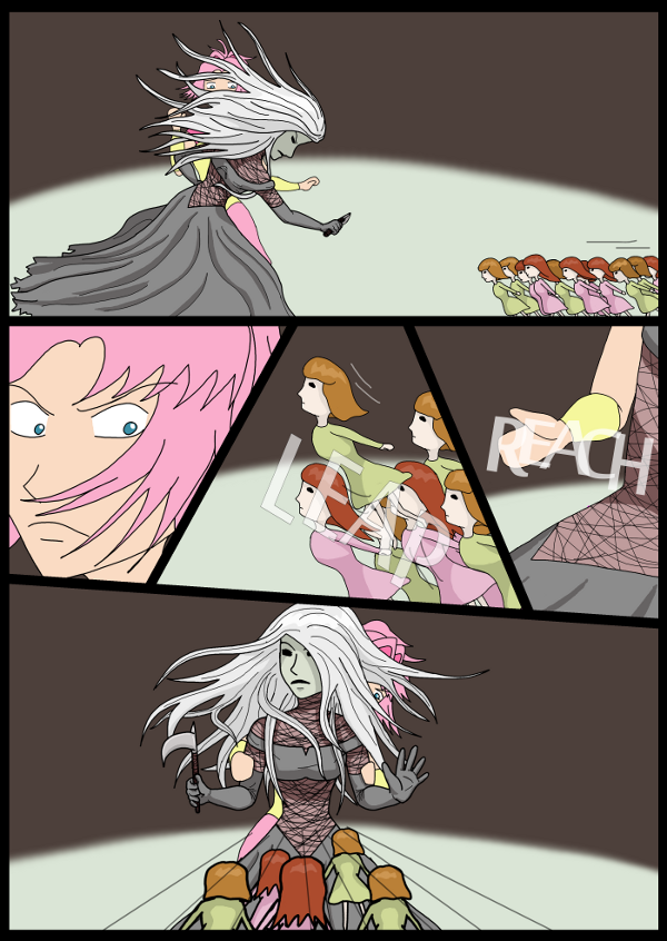 'Not A Villain' Webcomic - Dolls are incoming. Kleya uses Jane as a shield.
